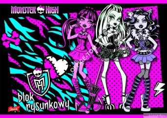 Blok rysunkowy A4, 20k. MONSTER HIGH